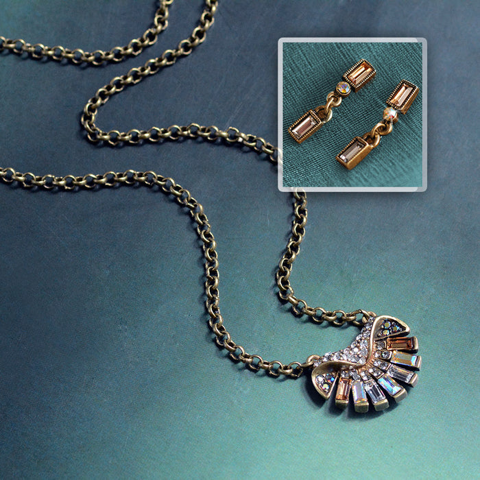 Art Deco on the Half Shell Necklace & Earring Set