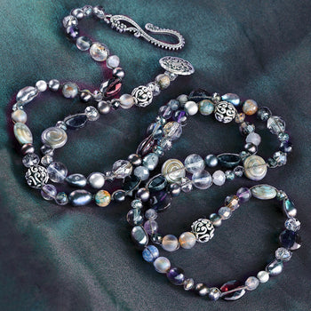 Long Gemstone Beaded Necklace N1374