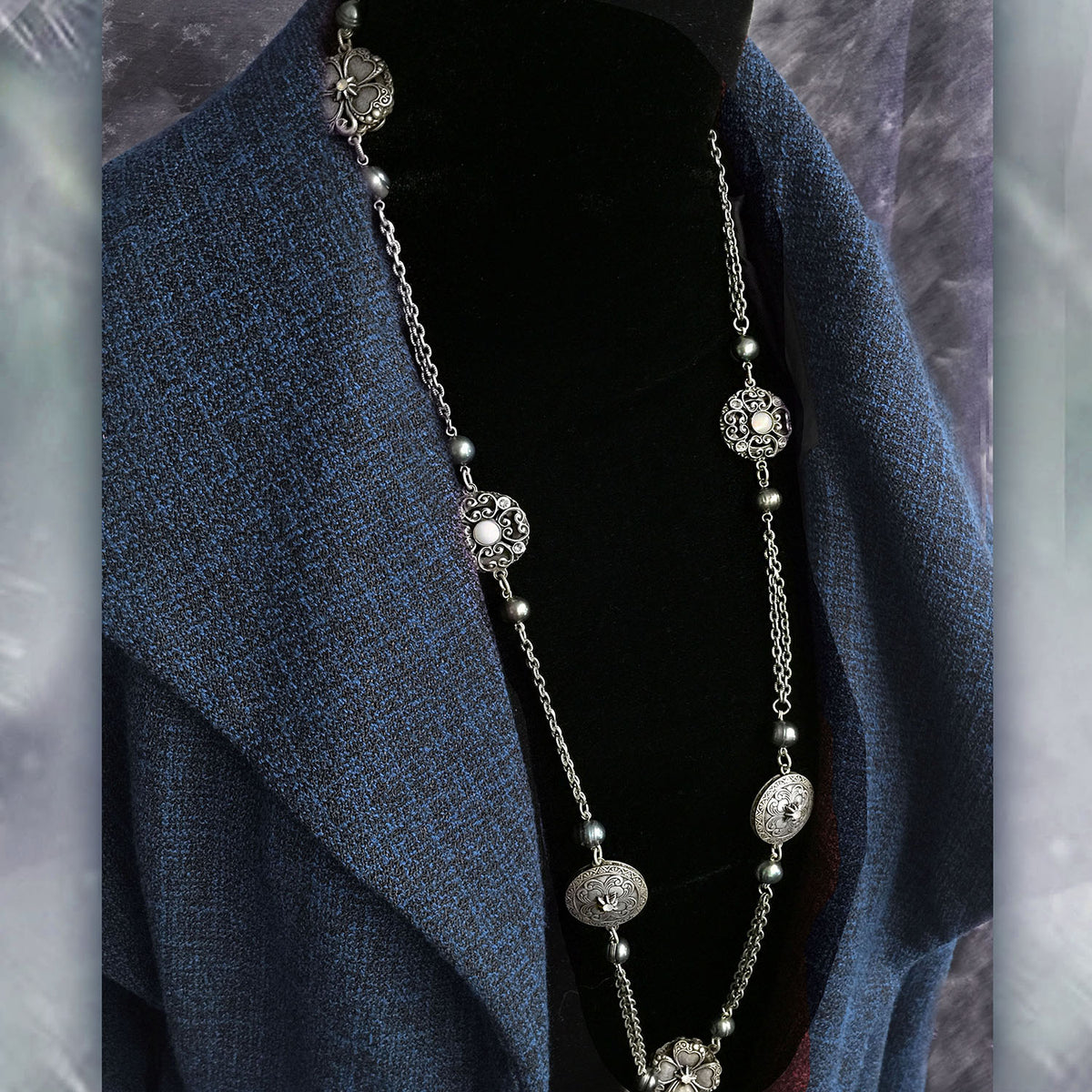Celtic Clover & Pearls Layering Necklace N1459