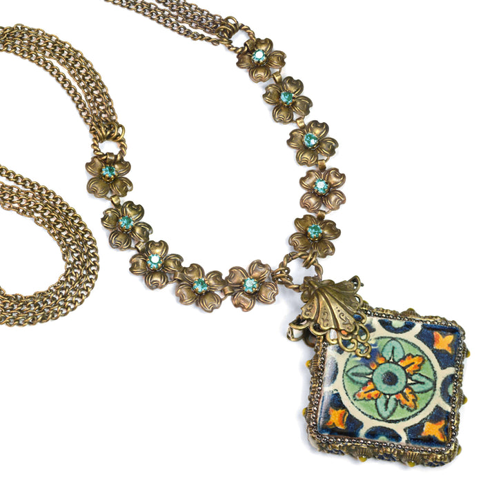 Talavera Tile Flower Boho Necklace