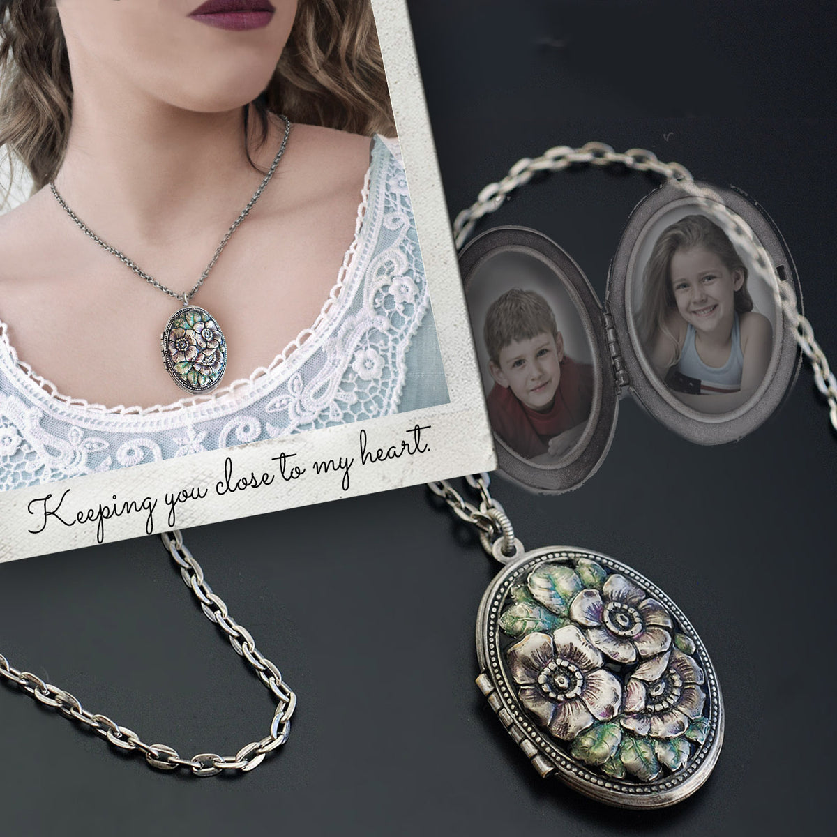 Oval Floral Silver Locket