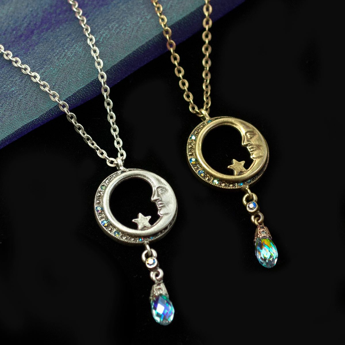 Half Moon in Circle Crystal Drop Necklace N1626 - sweetromanceonlinejewelry