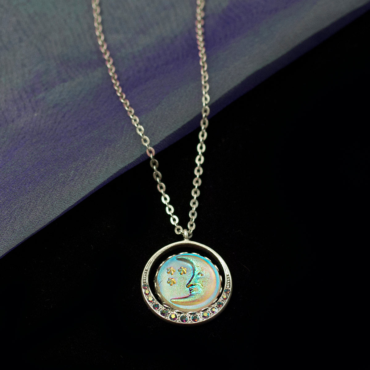 Iridescent Moon Necklace N1631 - sweetromanceonlinejewelry