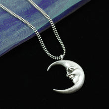 Load image into Gallery viewer, Man in a crescent Moon Necklace N1638 - sweetromanceonlinejewelry