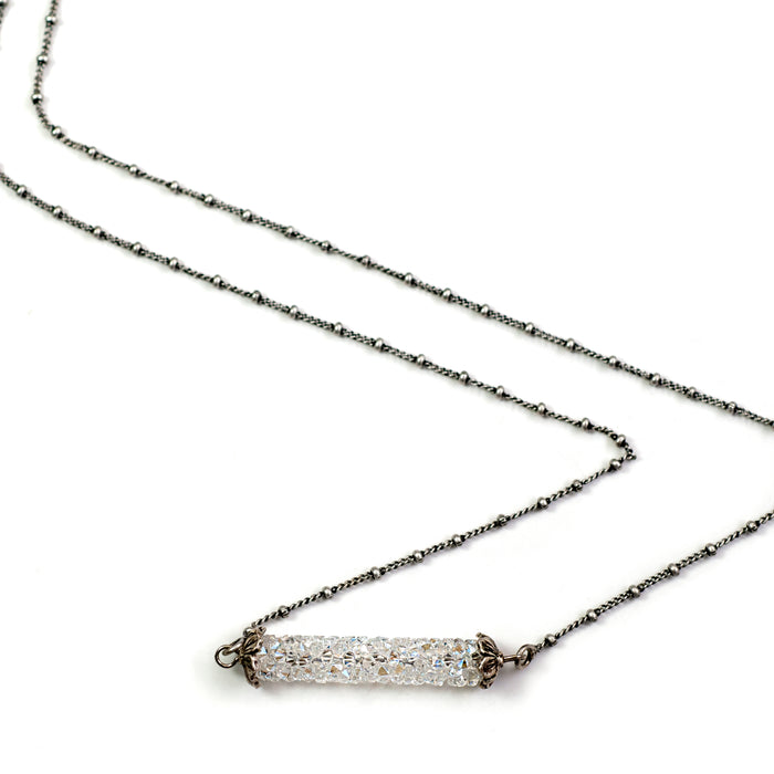 Crystal Rock Bar Necklace N1639 - sweetromanceonlinejewelry