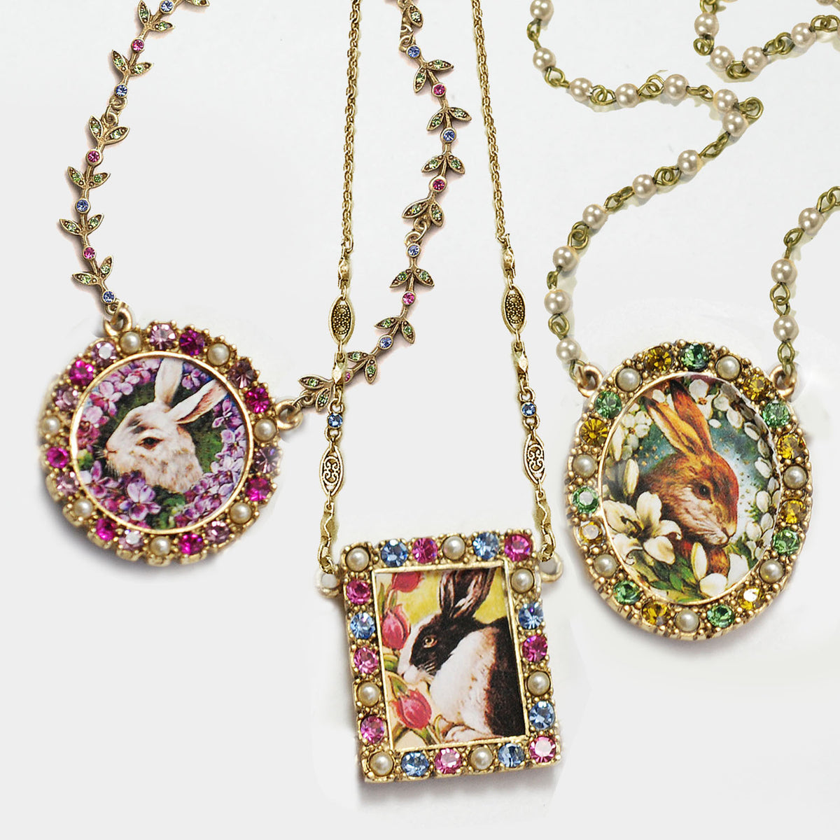 Garden of Bunnies Necklace N1644 - sweetromanceonlinejewelry