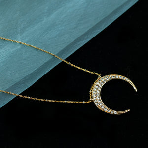 Inverted Crescent Moon Necklace N1705 - sweetromanceonlinejewelry