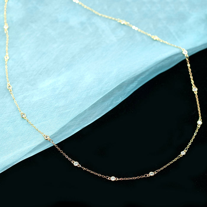 Crystal Chain Necklace N1710 - sweetromanceonlinejewelry