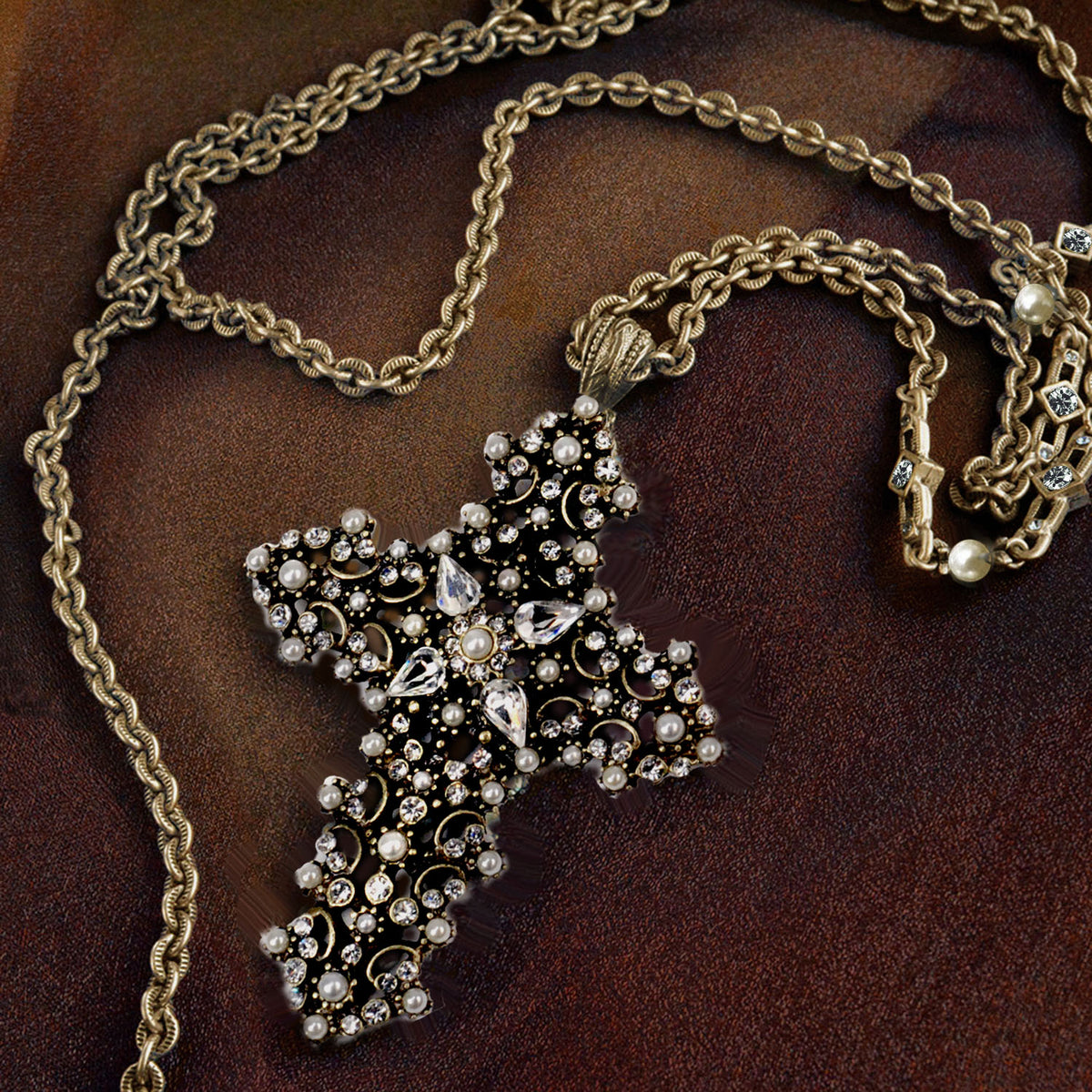 Lace Cross Necklace N842-PR