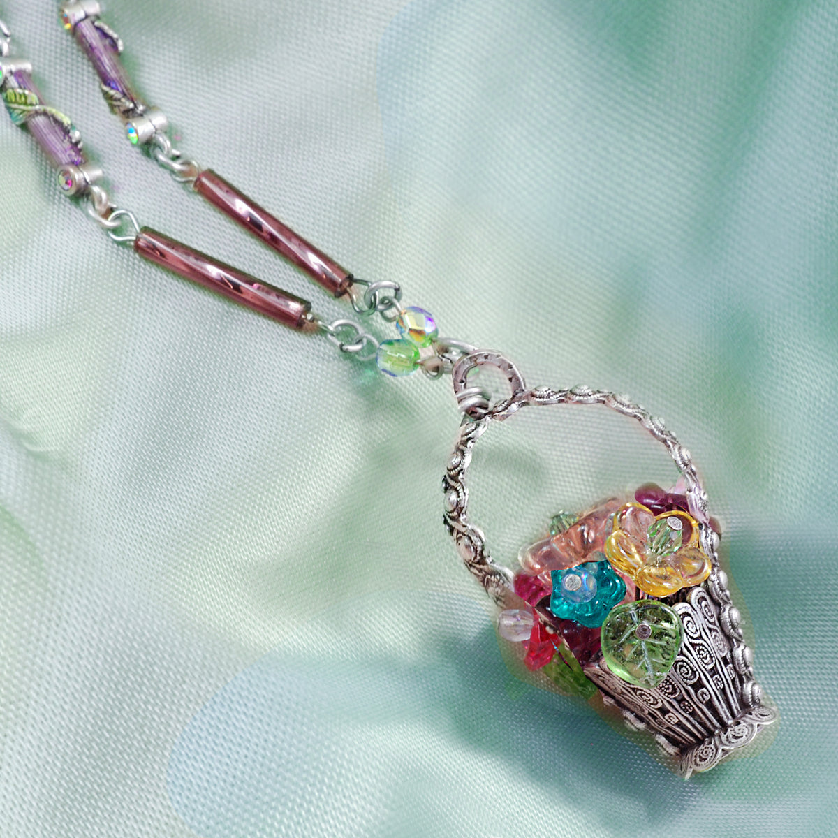 Flower Basket Necklace by Sweet Romance N966 - sweetromanceonlinejewelry