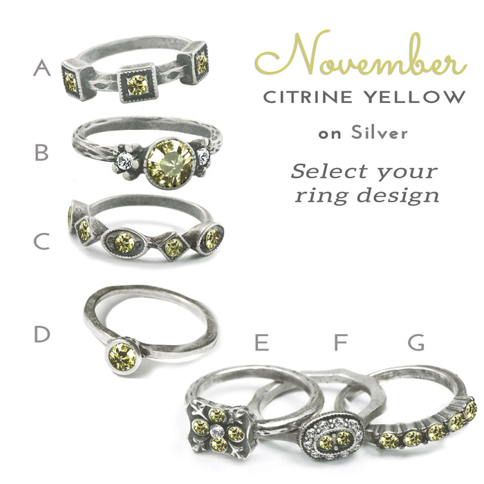 Stackable November Birthstone Ring - Citrine Yellow