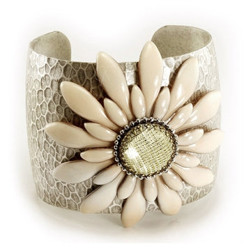 Cream Double Daisy Flower Cuff Bracelet  - ONLY 1 LEFT!