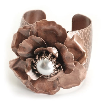 Camellia Flower & Pearl Cuff Bracelet  - ONLY 1 LEFT!
