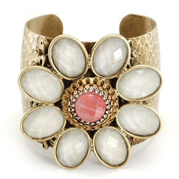 Retro White & Pink Flower Cuff Bracelet  - ONLY 6 LEFT!