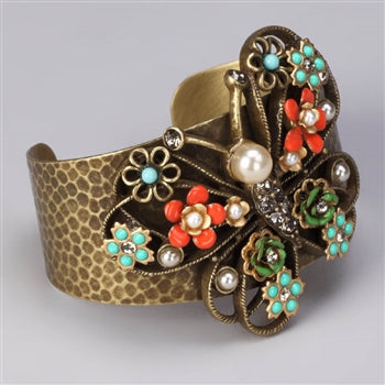 Butterfly and Flowers Cuff Bracelet