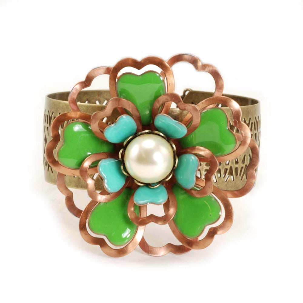 Copper and Enamel Dimensional Flower Cuff Bracelet
