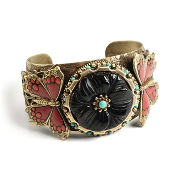 Monarch Butterfly & Onyx Flower Bracelet