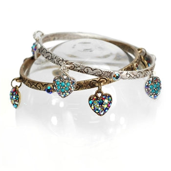 Rainbow Hearts Bangle Bracelet