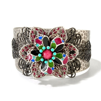 Dawn and Sunset Flower Cuff Bracelet
