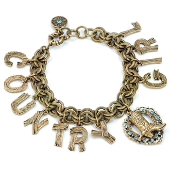 Country Girl Letter Charm Bracelet OL_BR327 - sweetromanceonlinejewelry