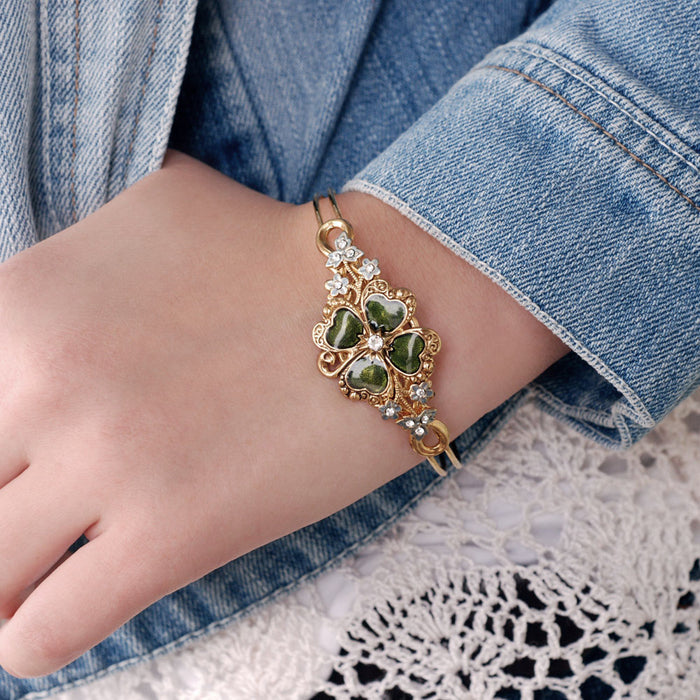 Lucky Clover Enamel Bangle Bracelet ONLY 2 LEFT!