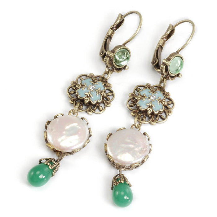 Green, Pearl and Filigree Earrings E137 - sweetromanceonlinejewelry