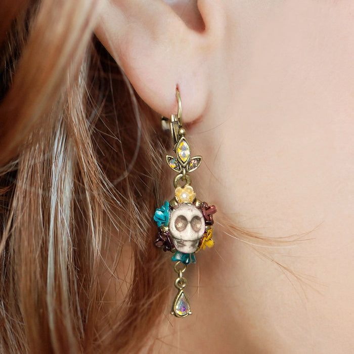 Skull and Crystal Teardrop Earrings E241 - sweetromanceonlinejewelry