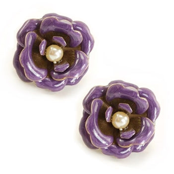 Enamel Roses Earrings OL_E288-PU - sweetromanceonlinejewelry