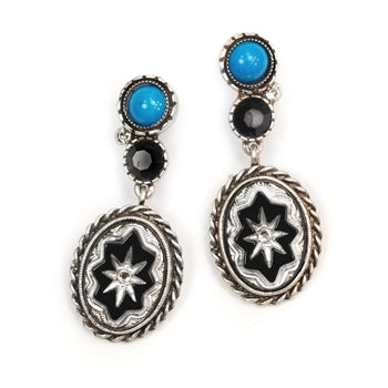 Black Rock Vintage Glass Earrings E311