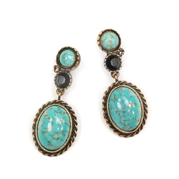 Earthstone Western Desert Earrings OL_E336-TQ-BZ - sweetromanceonlinejewelry