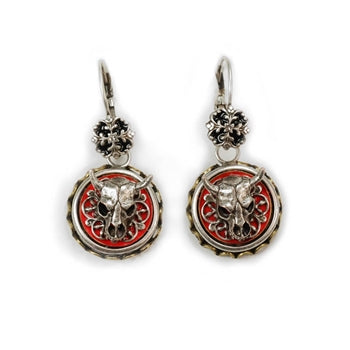 Steer Skull Conchito Earrings E348
