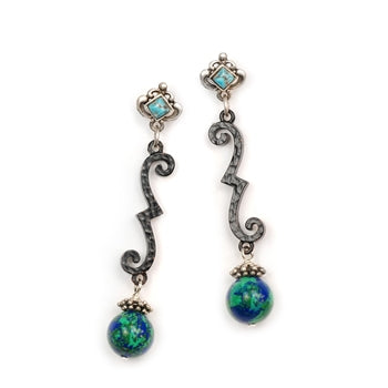 Wrought Iron Turquoise Earrings