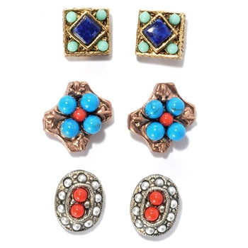 Set of 3 Gypsy Stud Earrings E636-SW
