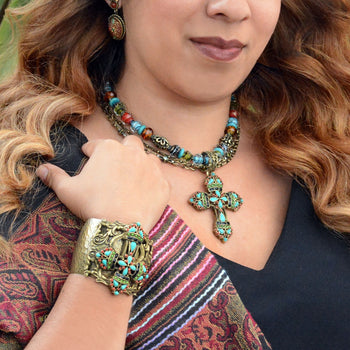 Mayan Cross Necklace & Bracelet Jewelry Set - sweetromanceonlinejewelry