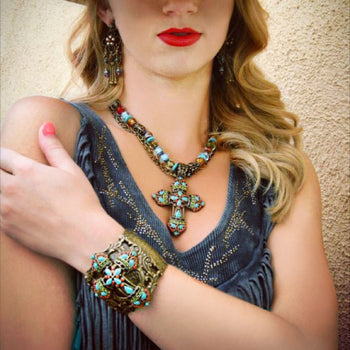 Mayan Cross Necklace & Bracelet Jewelry Set