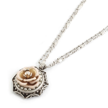 Shabby Rose & Pearls Necklace OL_N177 - sweetromanceonlinejewelry