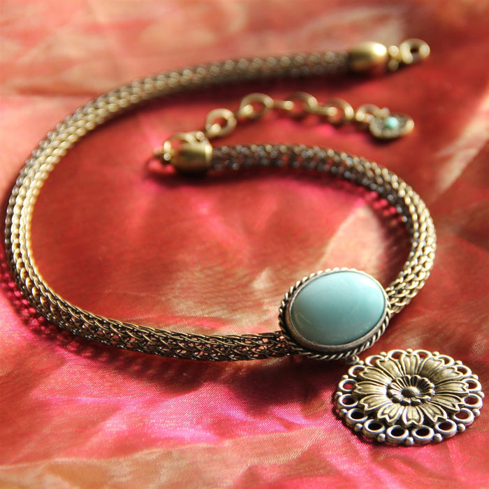 Amazonite & Daisy Flower Necklace N220