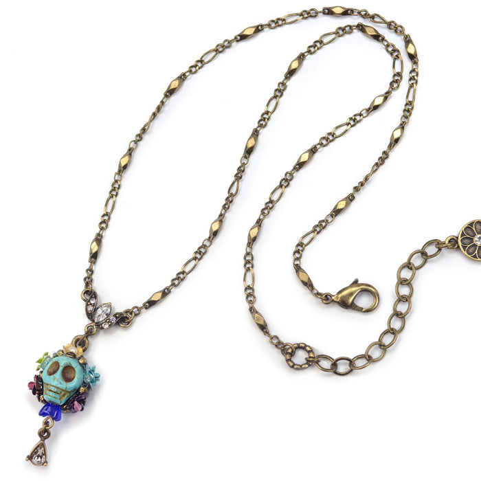 Skull and Crystal Teardrop Necklace N241-TQ