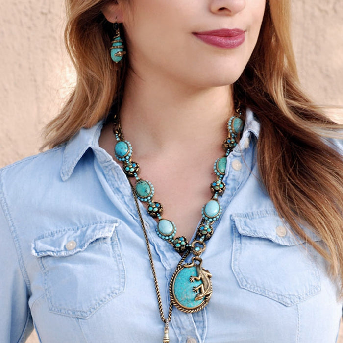 Southwest Desert Lizard Gemstone Necklace - sweetromanceonlinejewelry