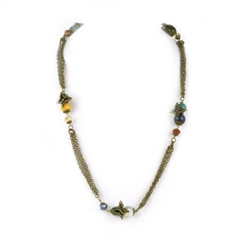 Gemstone Beads & Butterflies Necklace N268 - sweetromanceonlinejewelry