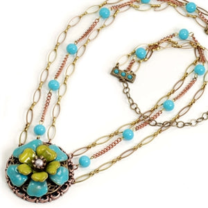 Blue & Apple Green Flower Necklace - ONLY 2 LEFT!