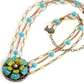 Blue & Apple Green Flower Necklace OL_N288 - sweetromanceonlinejewelry