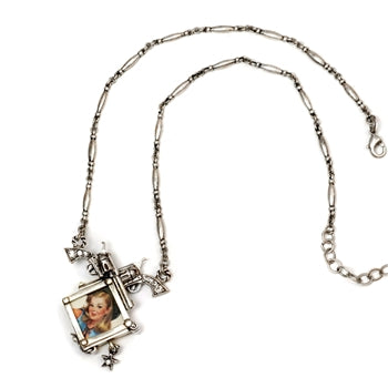 Gun Girlie Glass Photo Box Necklace N293 - sweetromanceonlinejewelry