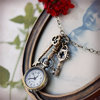 Steampunk Pocket Watch and Antique Key Necklace