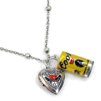 Biker Coors Beer Can and Heart Locket Charm Necklace N313