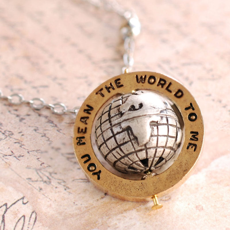 """You mean the world to me"" Necklace OL_N315 - sweetromanceonlinejewelry"