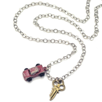 Junk Car & Key Necklace N317 - sweetromanceonlinejewelry