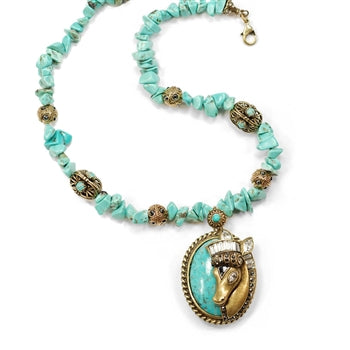 Deco Horse on Turquoise Necklace N391
