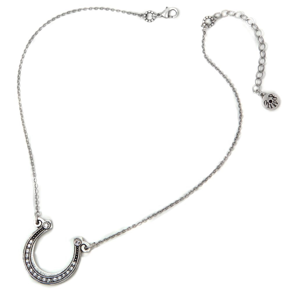 Get Lucky Horseshoe on Chain Necklace N394-SIL