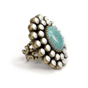 Turquoise and White Enamel Oval Ring